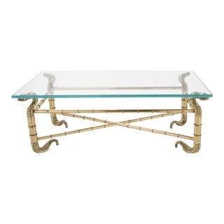1960s Arturo Pani Polished Brass Cobra Coffee Table For Sale