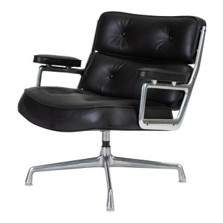Black Leather Time Life Lobby Chair by Ray and Charles Eames for Herman Miller For Sale