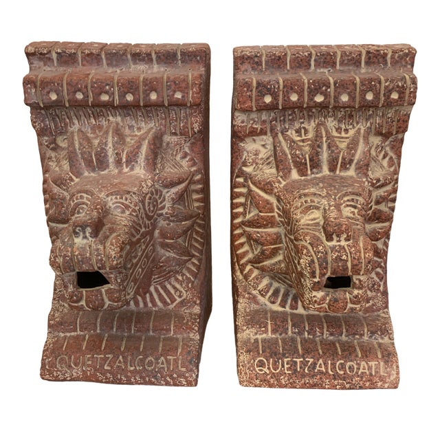 Large Terra-Cotta Bookends Quetzalcoatl Pyramid For Sale