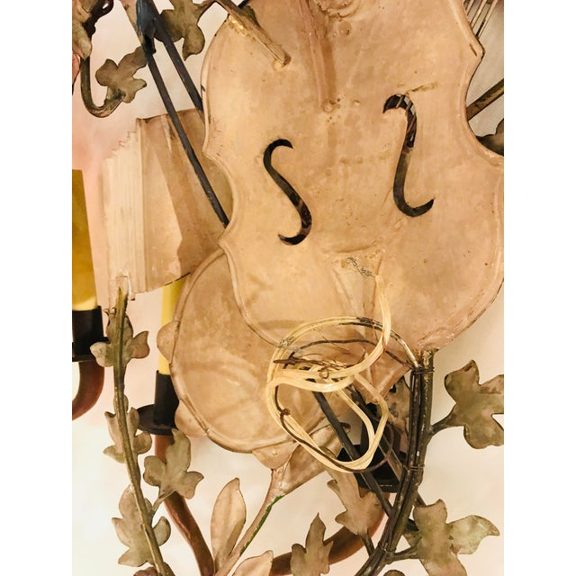 1950s Baroque Italian Tole Musical Sconces - a Pair For Sale - Image 10 of 11
