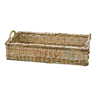 Circa 1920 Wicker Basket With Handles For Sale