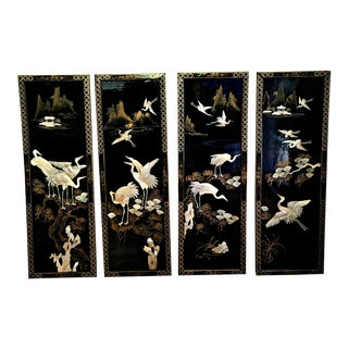 Antique Chinoiserie Panels With Mother of Pearl Cranes and Landscapes - Set of 4 For Sale