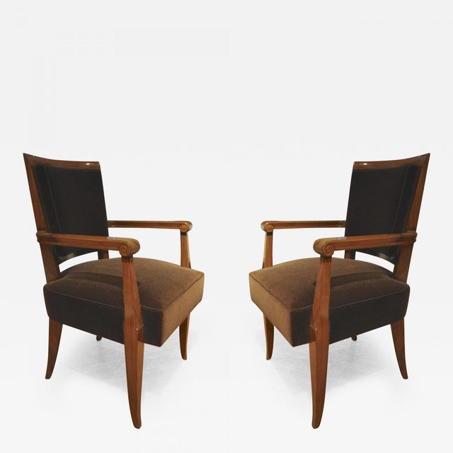 Brown Maxime Old Pair of Refined Solid Walnut Armchairs For Sale - Image 8 of 9