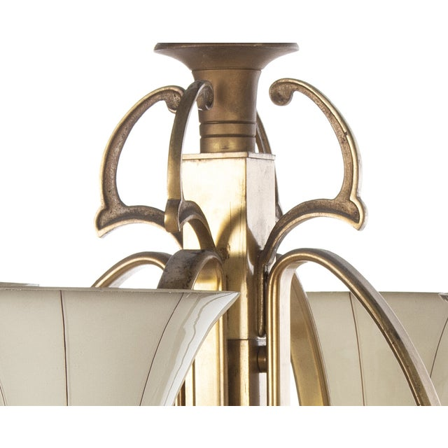 Early 20th Century Art Deco Opaline Glass Chandelier For Sale - Image 5 of 6