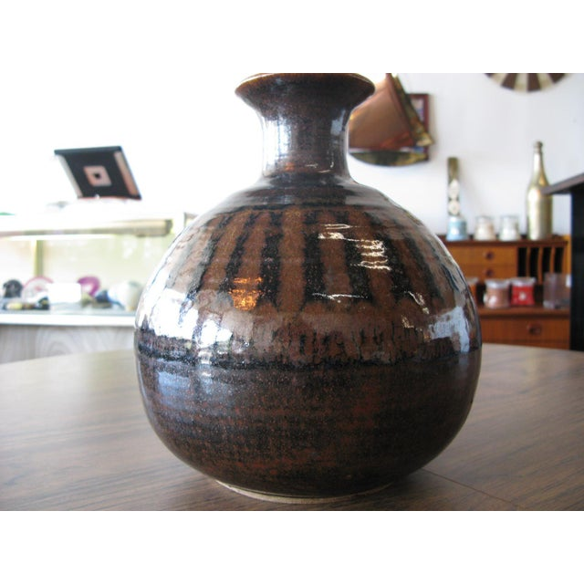 1976 Mid-Century Pottery Vase For Sale - Image 4 of 11