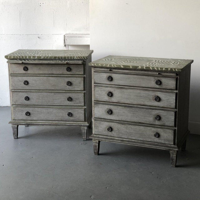 Pair of Catharine Warren Painted Swedish Chests For Sale - Image 9 of 9