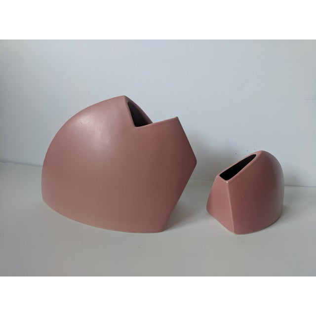 Rare, signed James Johnston Vessels Both sculptural pieces of abstract ceramic pottery are an exact shade of salmon pink...
