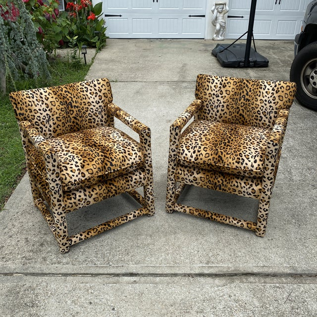 Velvet Cheetah Newly Upholstered Parsons Chairs - a Pair For Sale - Image 11 of 11