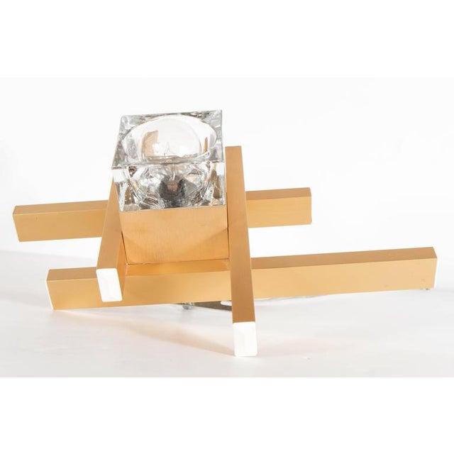 Gaetano Sciolari Mid-Century Modernist Flush Mount Brass and Cubed Glass Fixture by Sciolari For Sale - Image 4 of 9