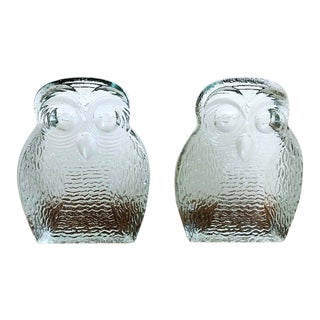 Original Mid Century Modern Blenko Owl Bookends - a Pair For Sale