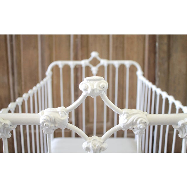 Late 19th Century 19th Century Shabby Chic Painted White Iron Crib Baby Bed For Sale - Image 5 of 13