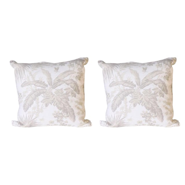 Pair of Pillows Upholstered in Jan Showers for Kravet Flamands Taupe Fabric For Sale - Image 4 of 4
