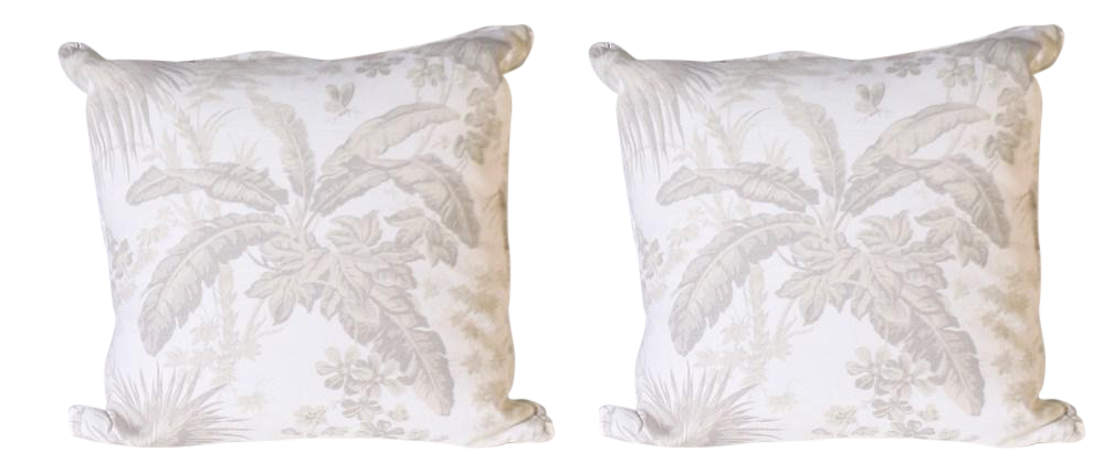 Pair Of Pillows Upholstered In Jan Showers For Kravet Flamands Taupe Fabric  For Sale   Image