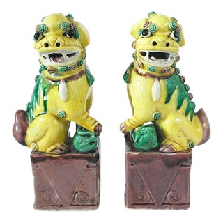 Vintage Chinese Porcelain Yellow Foo Dogs - A Pair