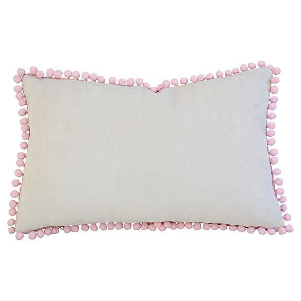 "Boho Chic 18"" X 12"" Custom Tailored Pink Medallion Feather/Down Pillow W/ Pom-Pom Trim For Sale - Image 3 of 6"