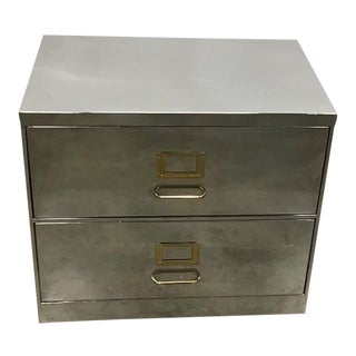 Contemporary Stainless Steel Filing Cabinet For Sale