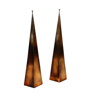 "Contemporary ""Pyramide"" Antique Brass Floor Lamps - a Pair For Sale"