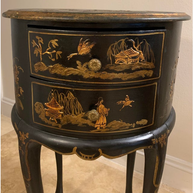 Vintage Chinoiserie Hand Painted and Gilt Pictorial Ebonized Two Drawer Side Table For Sale - Image 4 of 13