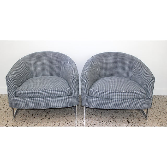 Chic and comfortable mid-century modern tub or lounge chairs from a Palm Beach estate, designed by Milo Baughman for...