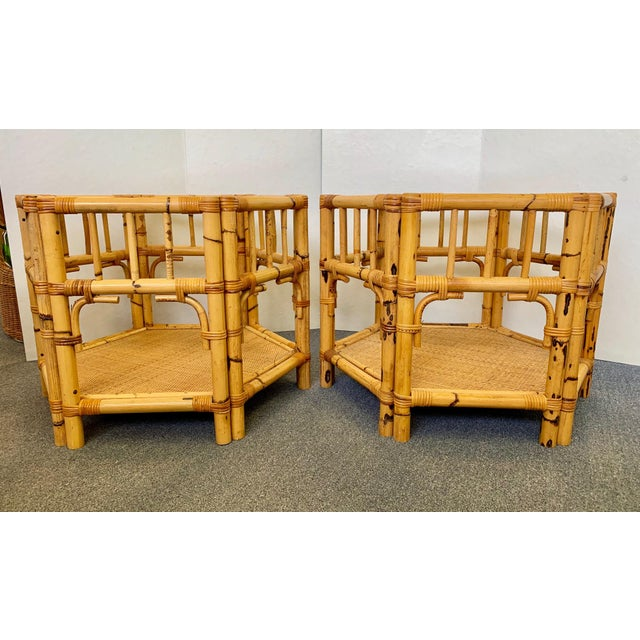 Boho Chic 1960s Boho Chic Octagonal Rattan and Bamboo End Tables With Glass Tops - a Pair For Sale - Image 3 of 12