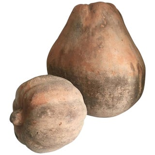Terra Cotta Gourds - A Pair For Sale