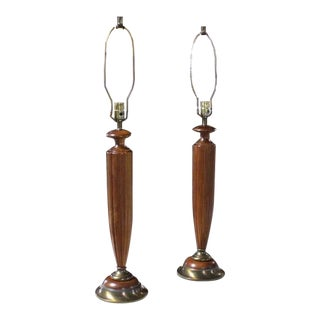 Pair of Heavy Carved Walnut and Brass Mid-Century Modern Table Lamps For Sale