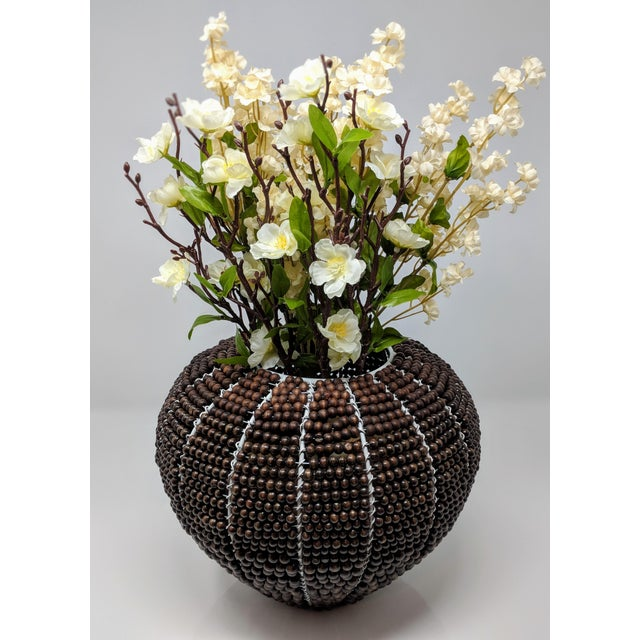 Brown Tribal Fair Trade Beaded Vase For Sale - Image 8 of 13