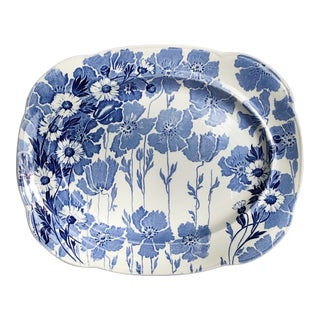Blue and White Ironstone Platter Transferware Wood & Sons England For Sale