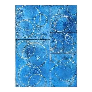 Multi Paneled Oil Fresco and Gold Leaf on Framed Panel by C. Damien Fox, 2021. For Sale