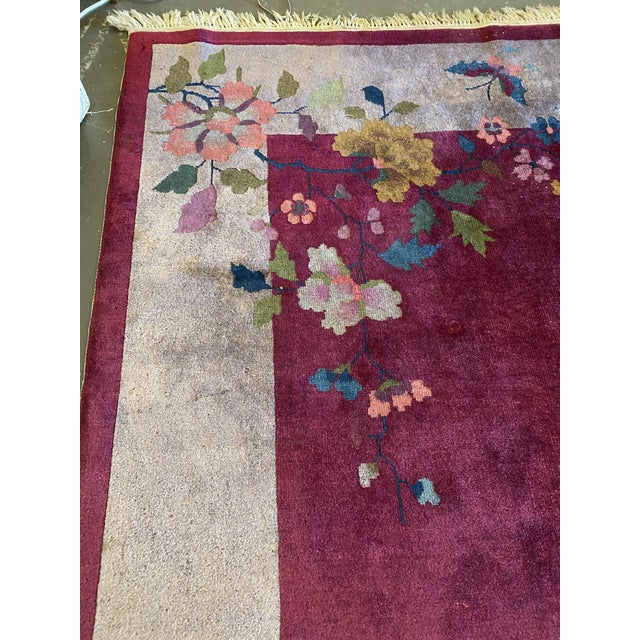 """Textile Chinese Art Deco Rug 139"""" X 107"""" For Sale - Image 7 of 10"""