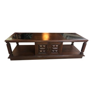 1970s Chinese Teak and Marble Coffee Table For Sale