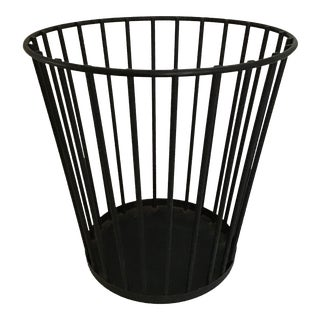 Mid Century Wrought Iron Trash Basket Can For Sale