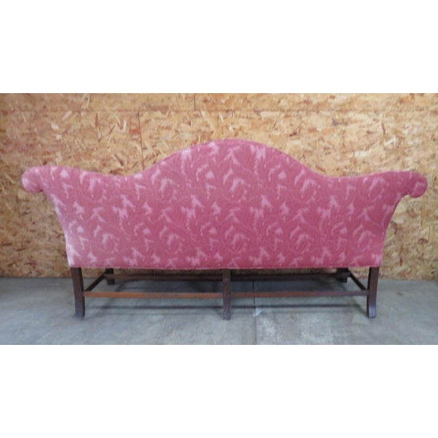 Late 19TH century Chippendale style sofa with mahogany Marlboro legs and stretcher base, light stain as shown in piv ,...