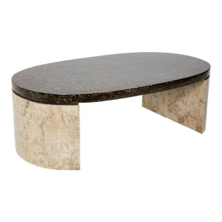 1990s Contemporary Tessellated Stone Base Oval Coffee Table For Sale