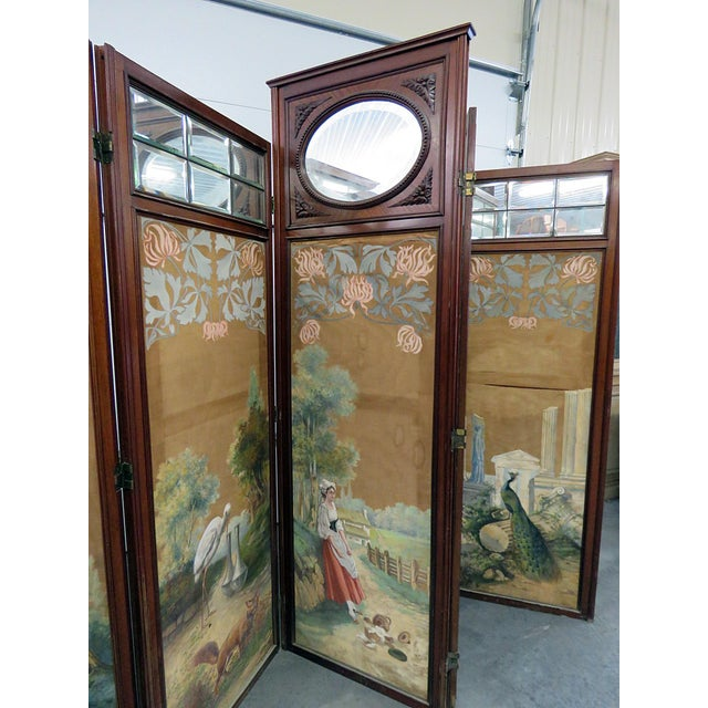 Mid 20th Century Aesthetic Victorian 4 Panel Screen For Sale - Image 5 of 13