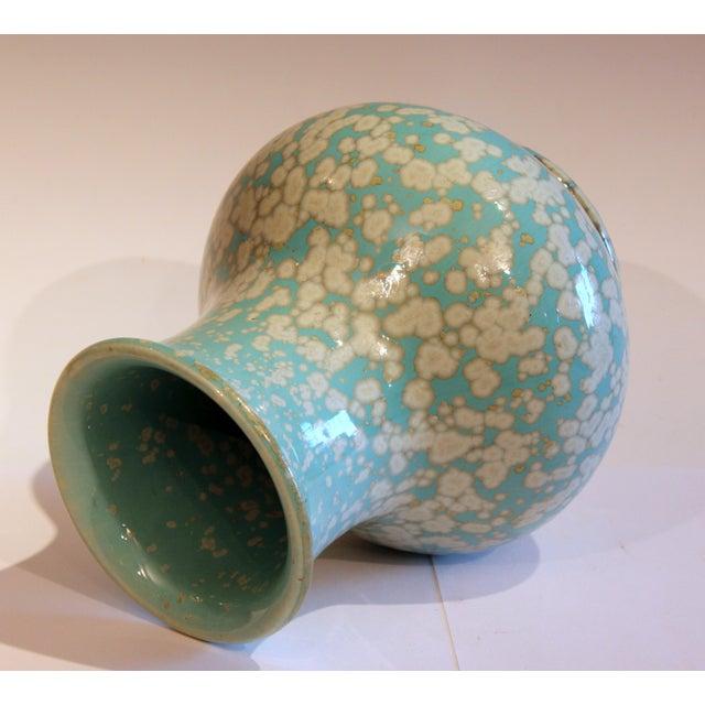Japanese Studio Porcelain Antique Old Crystalline Sky Blue Hu Form Vase For Sale - Image 4 of 12