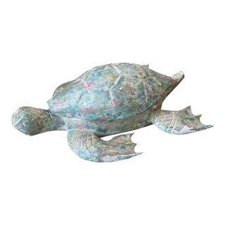 Coastal Carved Wood Pastel Painted Turtle Trinket Box For Sale