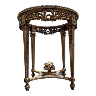 19th Century Louis XVI Style Distressed Hand Carved Occasional Table For Sale