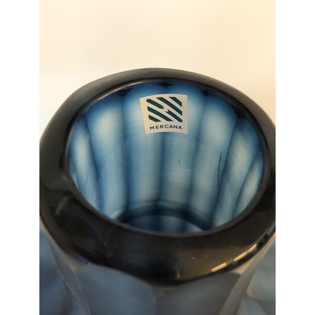 """2010s Large Mercana Marier 2 Blue Heavy Glass Vase 10"""" Tall For Sale - Image 5 of 9"""