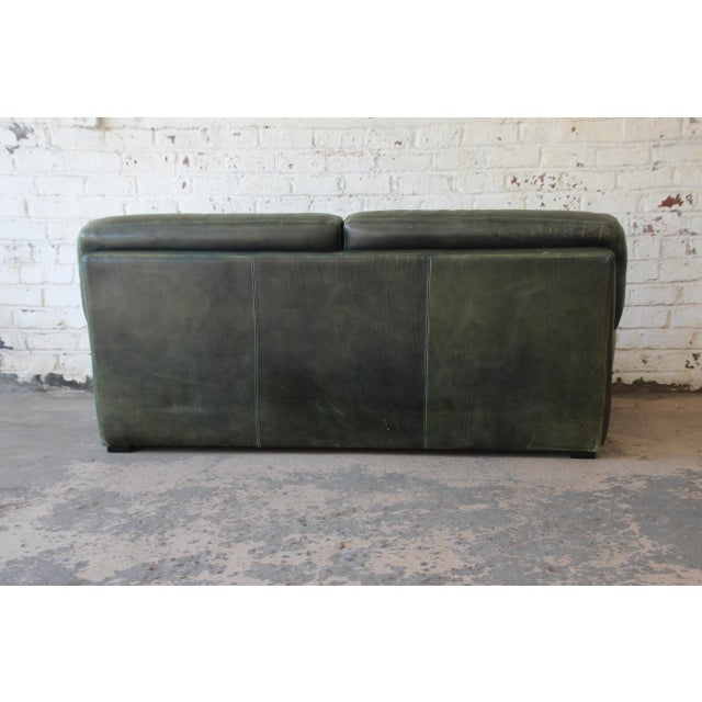 Animal Skin Roche Bobois Art Deco Green Leather Sofa For Sale - Image 7 of 8