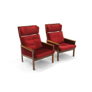 Pair of High Back Lounge Chairs by Illum Wikkelso, Rosewood and Red Velvet Preview