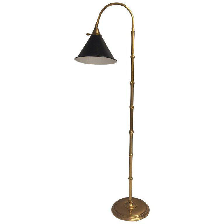 Mid Century Modern Brass Faux Bamboo Floor Lamp