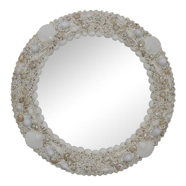 White Seashell Encrusted Mirror bySnob Galeries For Sale