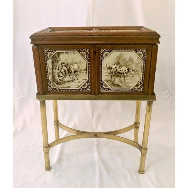Antique English Humidor on Stand Inlaid With Minton Porcelain Tiles Depicting Horses and Livestock Scenes, Circa 1860-1880.