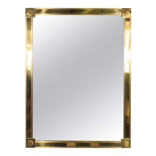 1970s Solid Brass Mirror For Sale