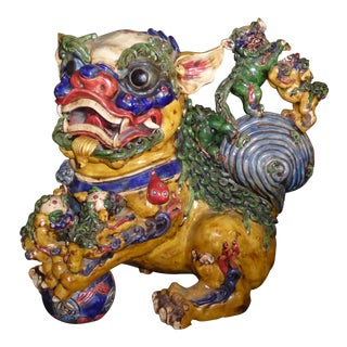 Large Vintage Oriental Japanese Colorful Foo Dog W 5 Baby Foo Dogs Statue Figurine For Sale