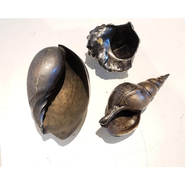 Large Vintage Italian Silvered Bronze Seashells- Set of 3 For Sale In New York - Image 6 of 12