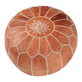 Handmade Brown Leather Pouf
