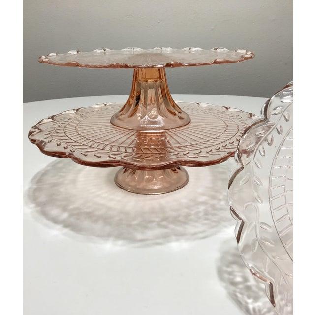 Pink Depression Glass Pedestal Cake Plates - Set of 3 - Image 8 of 8