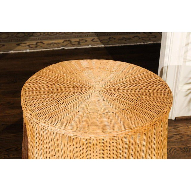 Wicker Stellar Pair of Vintage Trompe l'Oiel Drape Wicker Tables For Sale - Image 7 of 12